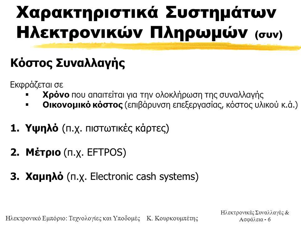 Χαρακτηριστικά Συστημάτων Ηλεκτρονικών Πληρωμών (συν)