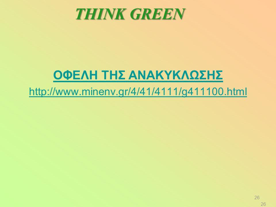 THINK GREEN ΟΦΕΛΗ ΤΗΣ ΑΝΑΚΥΚΛΩΣΗΣ