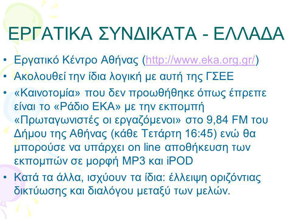 ΕΡΓΑΤΙΚΑ ΣΥΝΔΙΚΑΤΑ - ΕΛΛΑΔΑ