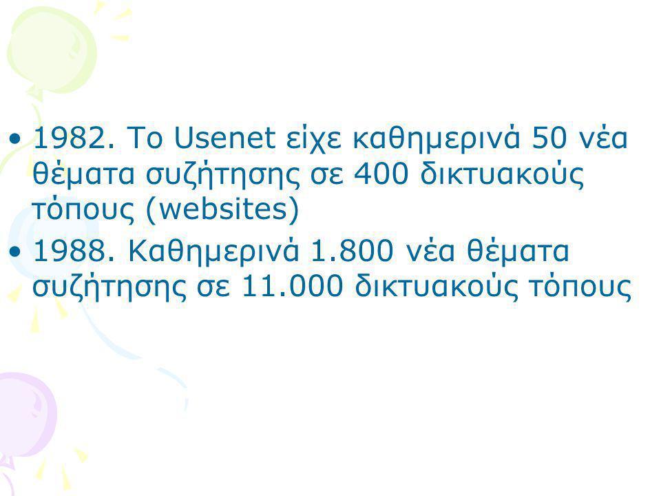 1982. To Usenet είχε καθημερινά 50 νέα θέματα συζήτησης σε 400 δικτυακούς τόπους (websites)