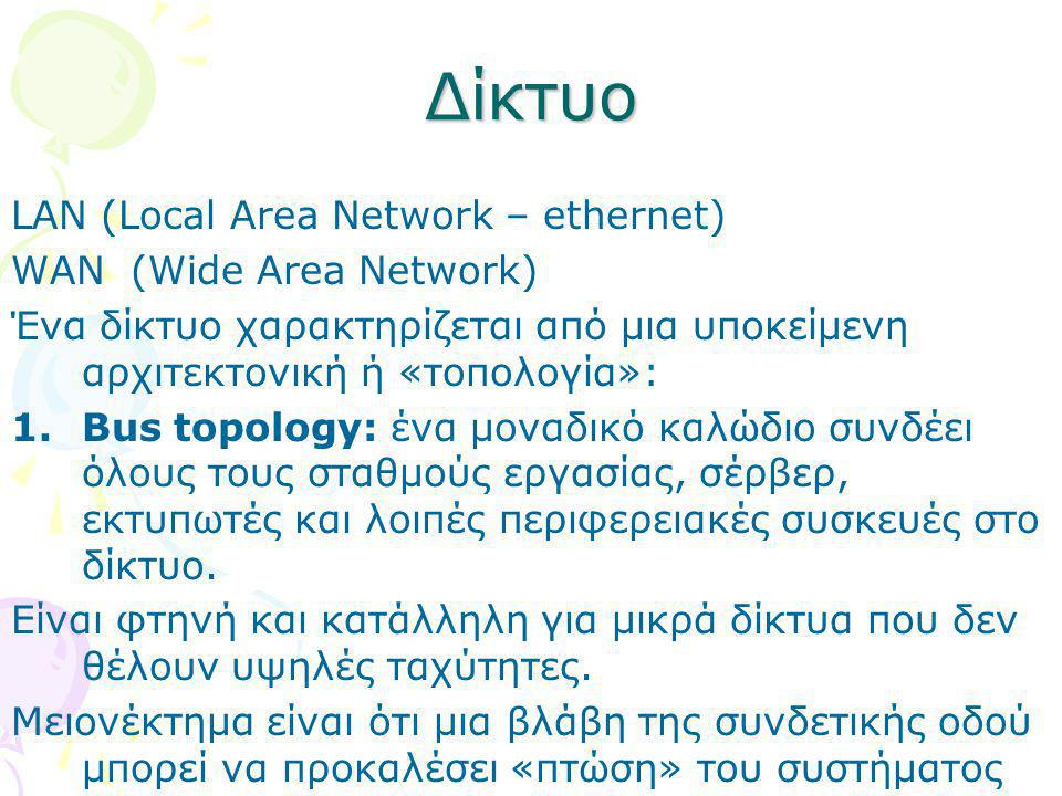 Δίκτυο LAN (Local Area Network – ethernet) WAN (Wide Area Network)