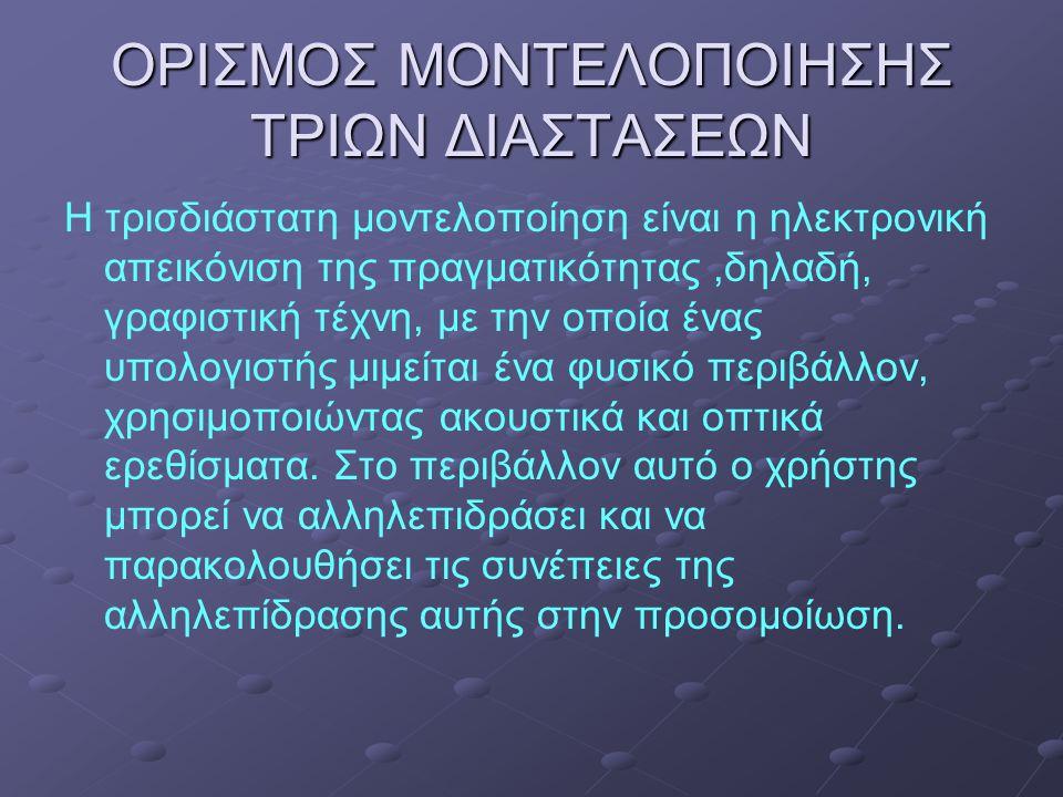 ΟΡΙΣΜΟΣ ΜΟΝΤΕΛΟΠΟΙΗΣΗΣ ΤΡΙΩΝ ΔΙΑΣΤΑΣΕΩΝ