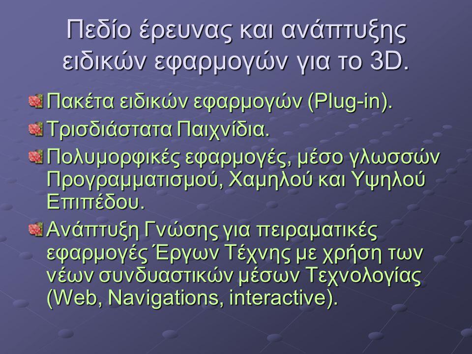 Πεδίο έρευνας και ανάπτυξης ειδικών εφαρμογών για το 3D.