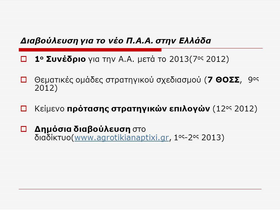 Διαβούλευση για το νέο Π.Α.Α. στην Ελλάδα