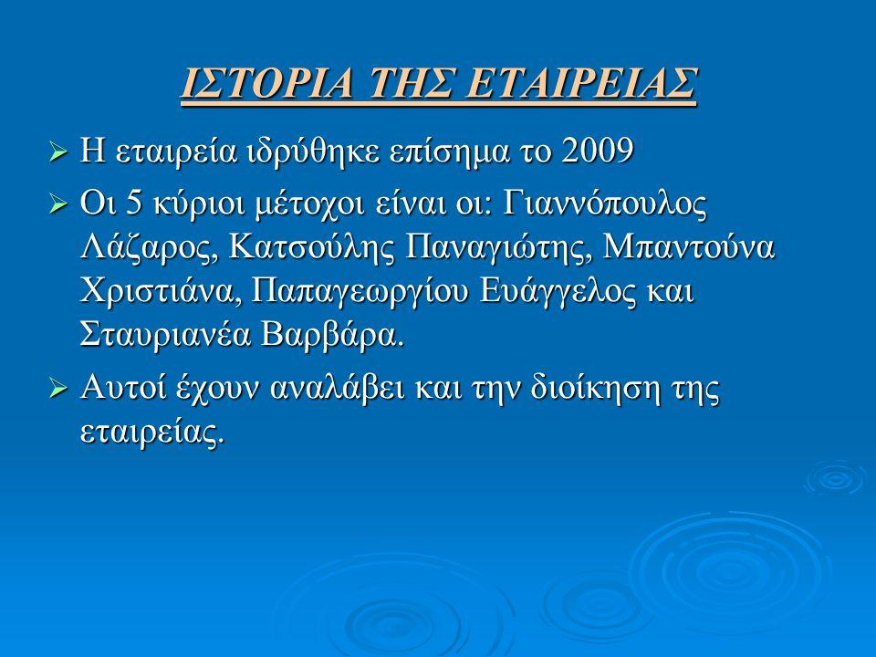 ΙΣΤΟΡΙΑ ΤΗΣ ΕΤΑΙΡΕΙΑΣ Η εταιρεία ιδρύθηκε επίσημα το 2009