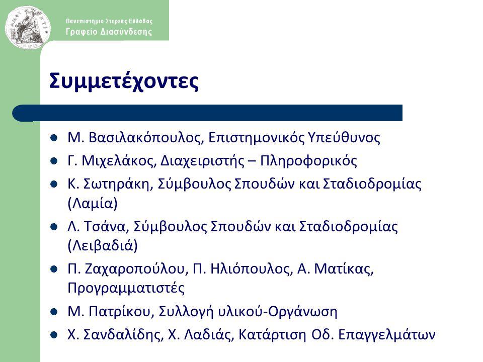 Συμμετέχοντες Μ. Βασιλακόπουλος, Επιστημονικός Υπεύθυνος