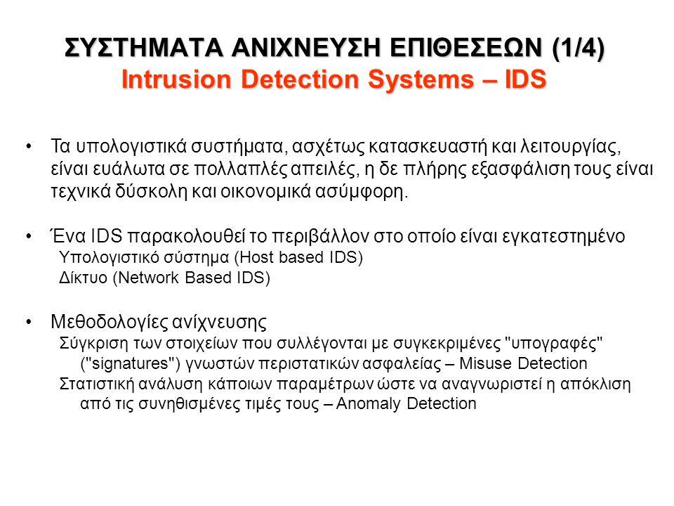 ΣΥΣΤΗΜΑΤΑ ΑΝΙΧΝΕΥΣΗ ΕΠΙΘΕΣΕΩΝ (1/4) Intrusion Detection Systems – IDS