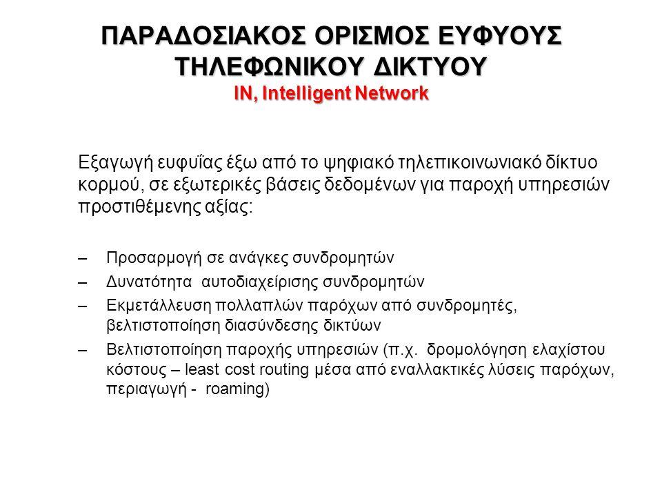 ΠΑΡΑΔΟΣΙΑΚΟΣ ΟΡΙΣΜΟΣ ΕΥΦΥΟΥΣ ΤΗΛΕΦΩΝΙΚΟΥ ΔΙΚΤΥΟΥ IN, Intelligent Network