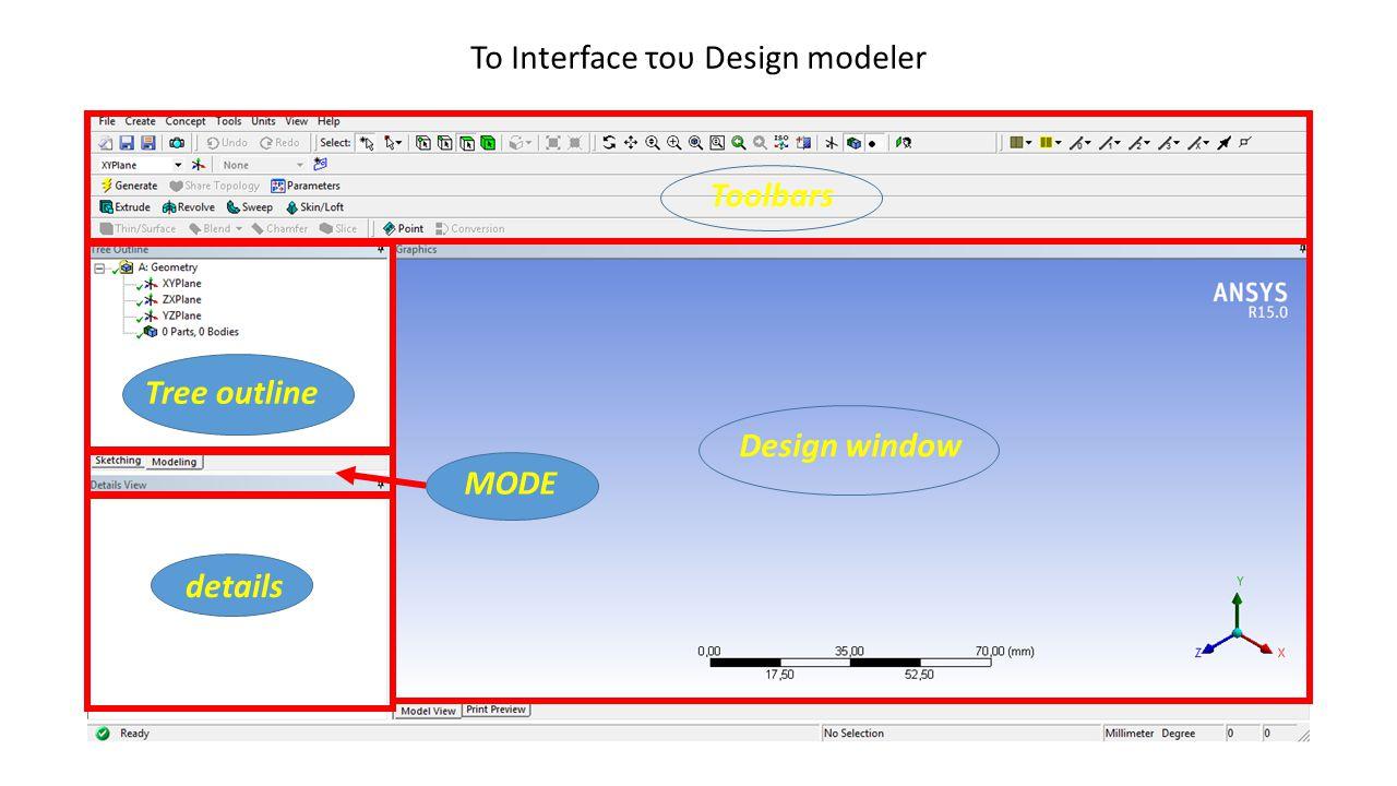 Το Interface του Design modeler