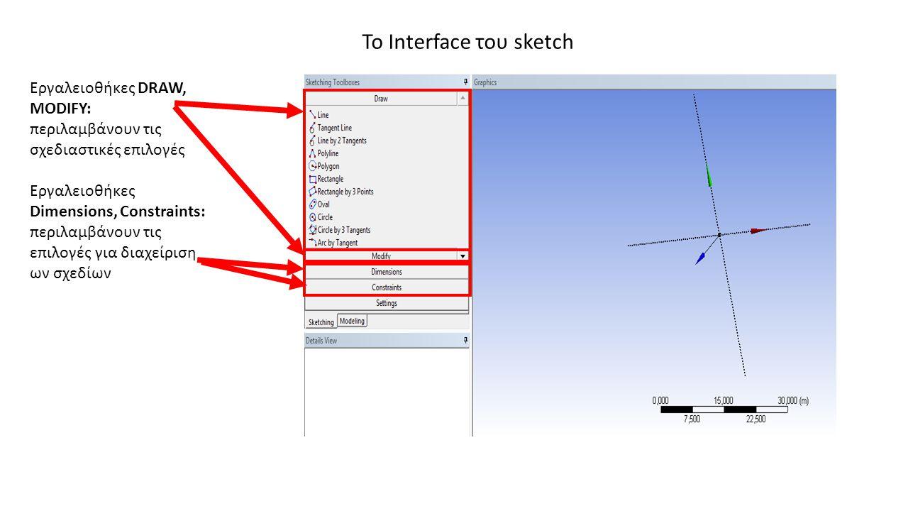 Το Interface του sketch