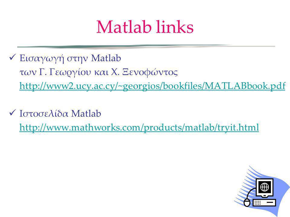 Matlab links Εισαγωγή στην Matlab των Γ. Γεωργίου και Χ. Ξενοφώντος