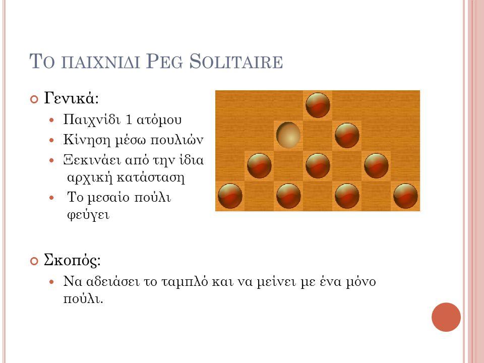 Το παιχνιδι Peg Solitaire