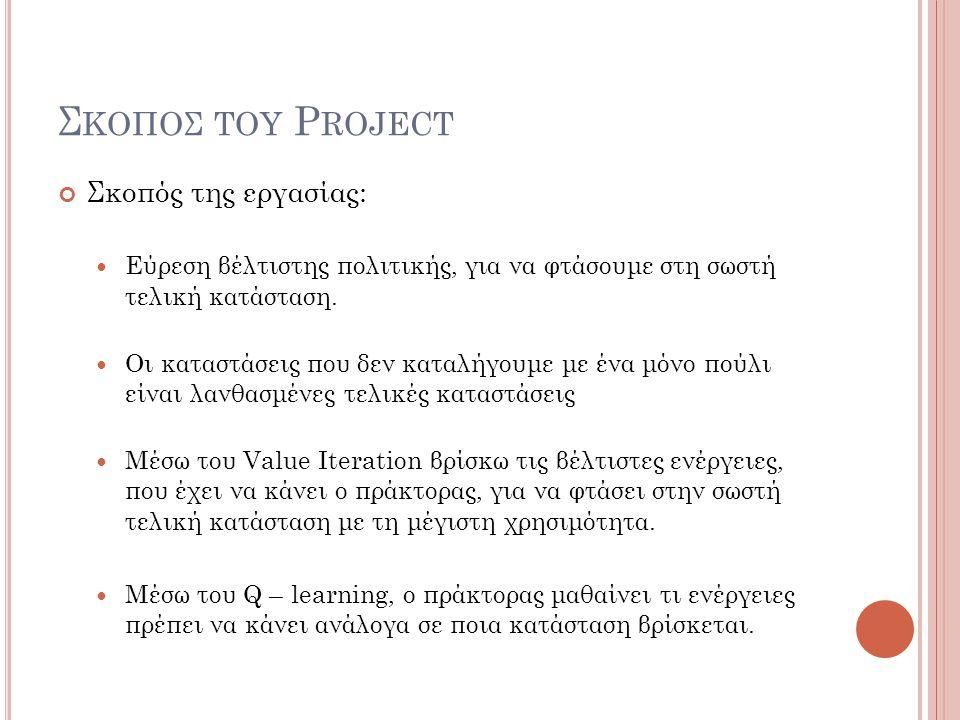 Σκοποσ του Project Σκοπός της εργασίας: