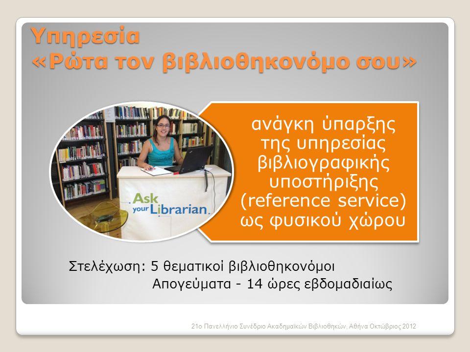 Υπηρεσία «Ρώτα τον βιβλιοθηκονόμο σου»