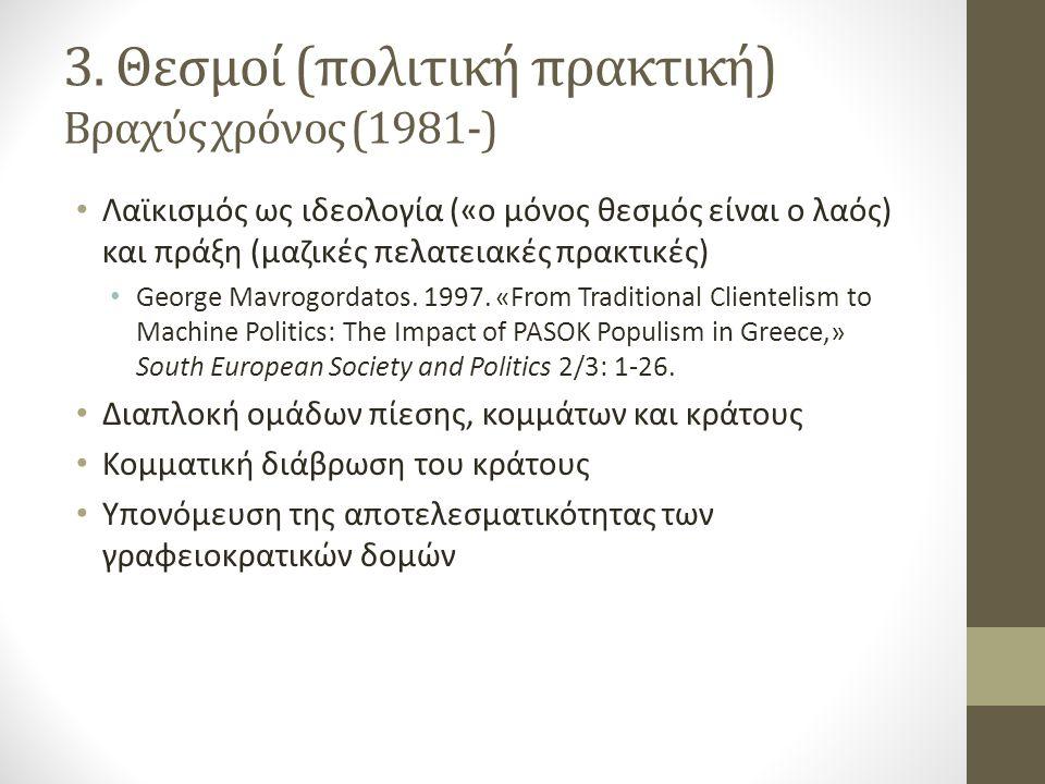 3. Θεσμοί (πολιτική πρακτική) Βραχύς χρόνος (1981-)