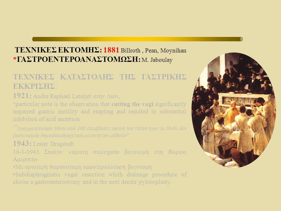 ΤΕΧΝΙΚΕΣ ΕΚΤΟΜΗΣ: 1881 Billroth , Pean, Moynihan
