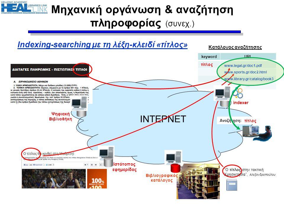 Μηχανική οργάνωση & αναζήτηση πληροφορίας (συνεχ.)