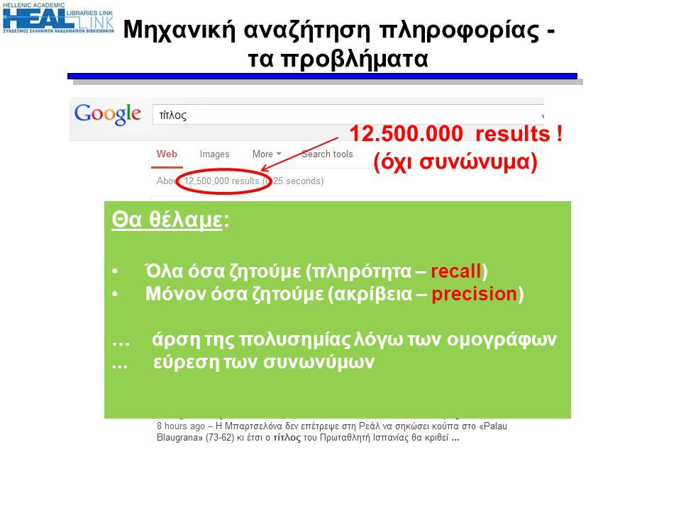 Μηχανική αναζήτηση πληροφορίας - τα προβλήματα