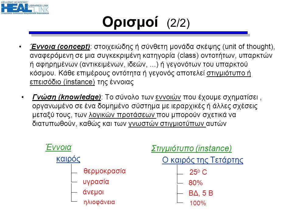 Ορισμοί (2/2) Έννοια Στιγμιότυπο (instance) καιρός