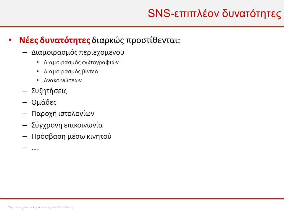 SNS-επιπλέον δυνατότητες