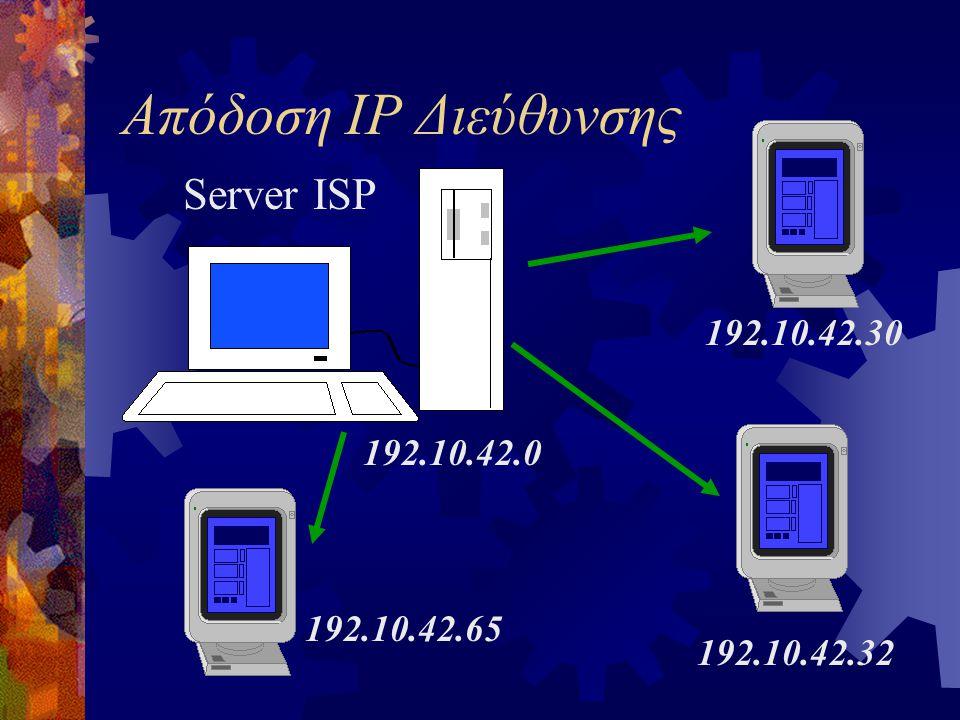 Απόδοση IP Διεύθυνσης Server ISP 192.10.42.30 192.10.42.0 192.10.42.65