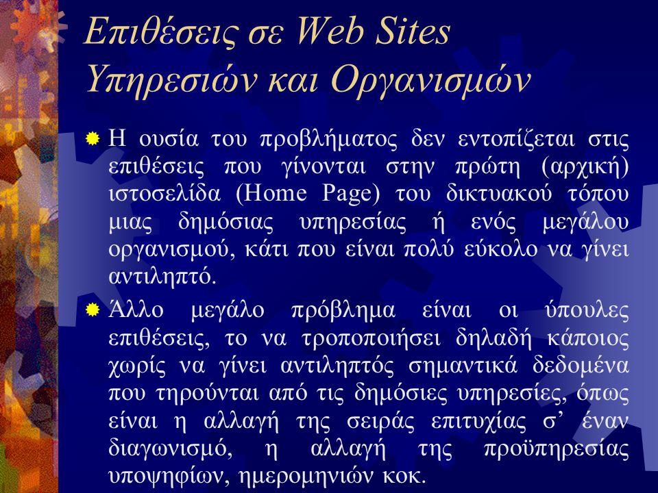 Επιθέσεις σε Web Sites Υπηρεσιών και Οργανισμών