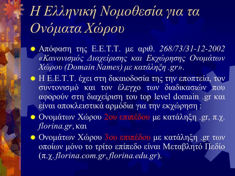 Η Ελληνική Νομοθεσία για τα Ονόματα Χώρου