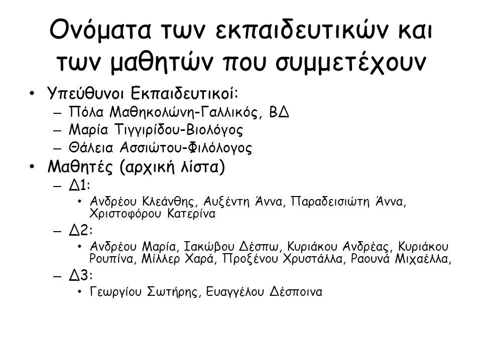 Ονόματα των εκπαιδευτικών και των μαθητών που συμμετέχουν