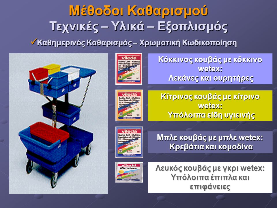 Μέθοδοι Καθαρισμού Τεχνικές – Υλικά – Εξοπλισμός