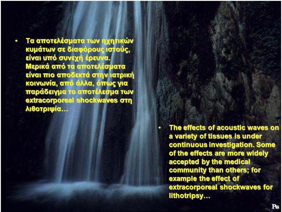 Τα αποτελέσματα των ηχητικών κυμάτων σε διαφόρους ιστούς, είναι υπό συνεχή έρευνα. Μερικά από τα αποτελέσματα είναι πιο αποδεκτά στην ιατρική κοινωνία, από άλλα, όπως για παράδειγμα το αποτέλεσμα των extracorporeal shockwaves στη λιθοτριψία…
