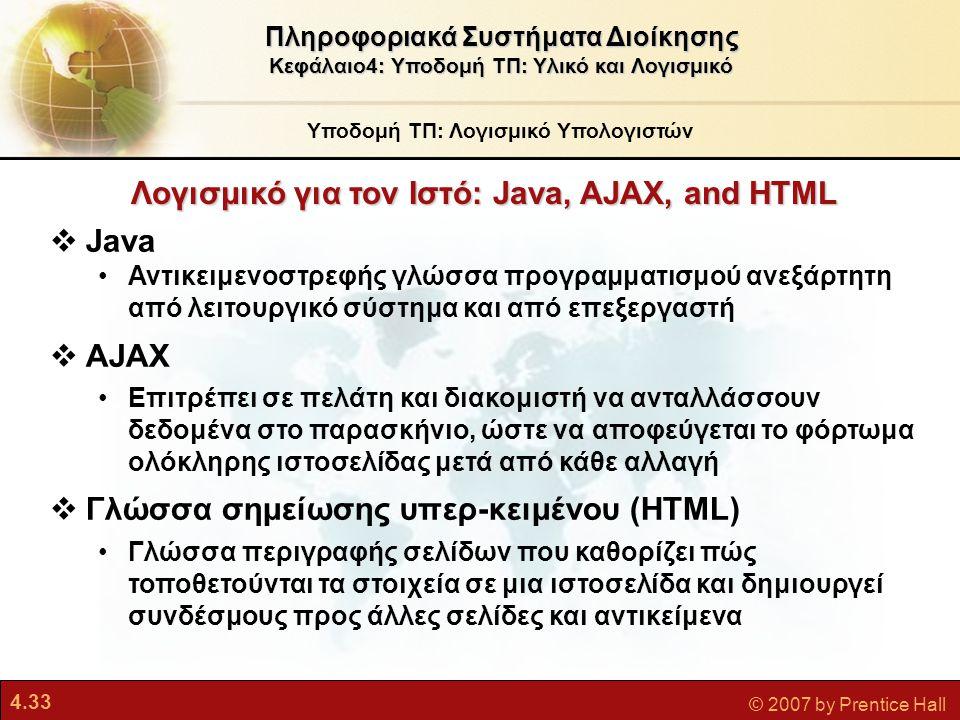 Λογισμικό για τον Ιστό: Java, AJAX, and HTML