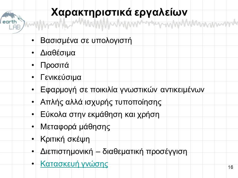Χαρακτηριστικά εργαλείων