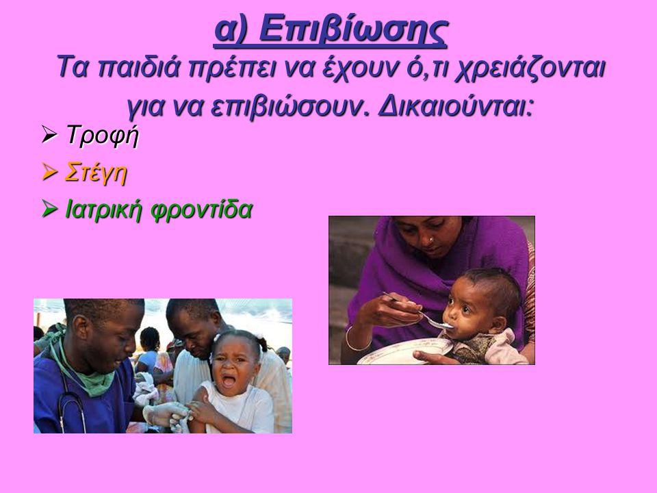 α) Επιβίωσης Τα παιδιά πρέπει να έχουν ό,τι χρειάζονται για να επιβιώσουν. Δικαιούνται: