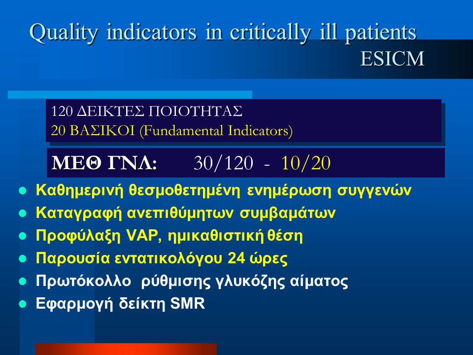 Quality indicators in critically ill patients ESICM