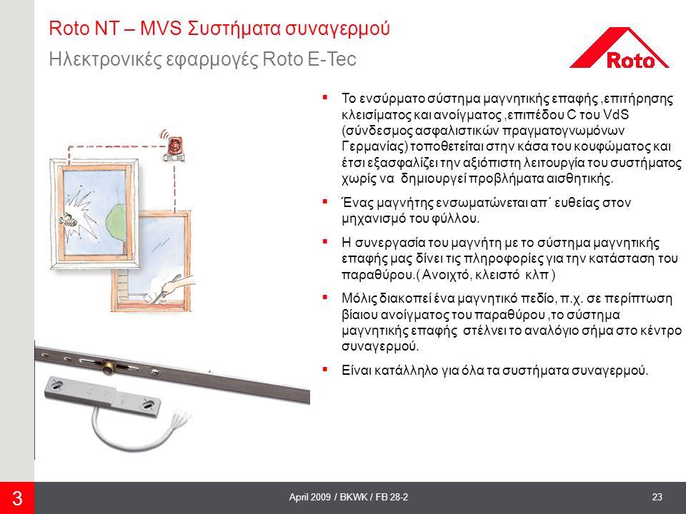 Roto NT – MVS Συστήματα συναγερμού Ηλεκτρονικές εφαρμογές Roto E-Tec