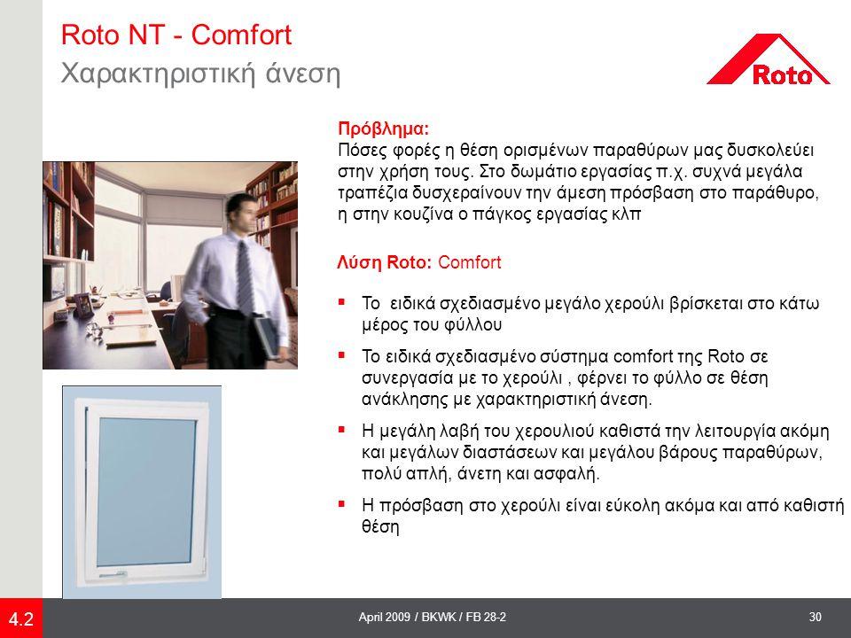 Roto NT - Comfort Χαρακτηριστική άνεση Πρόβλημα: