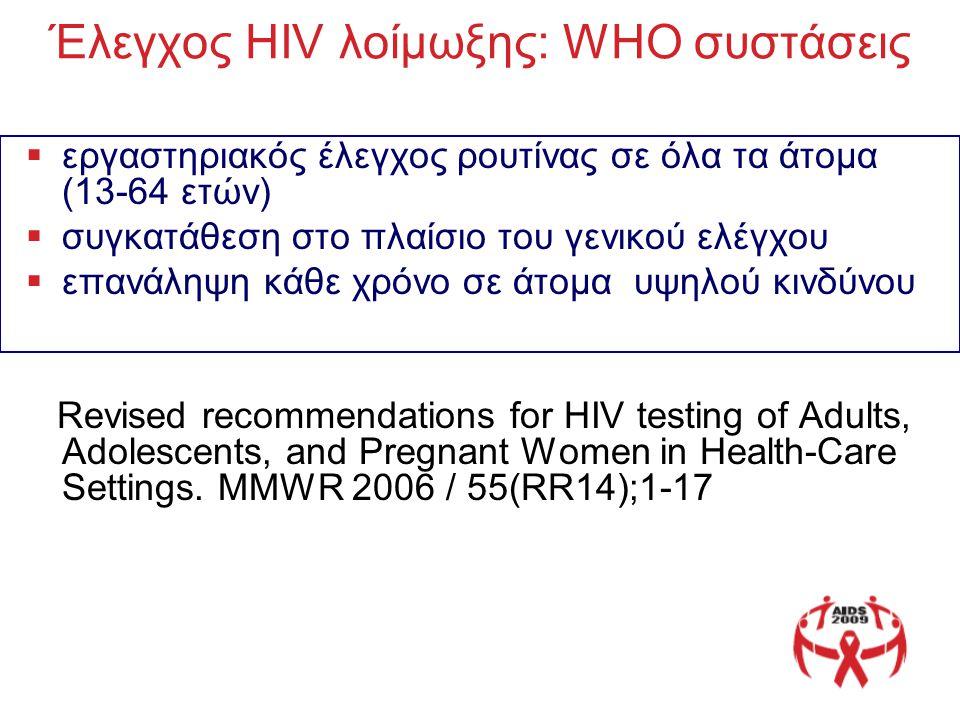 Έλεγχος HIV λοίμωξης: WHO συστάσεις