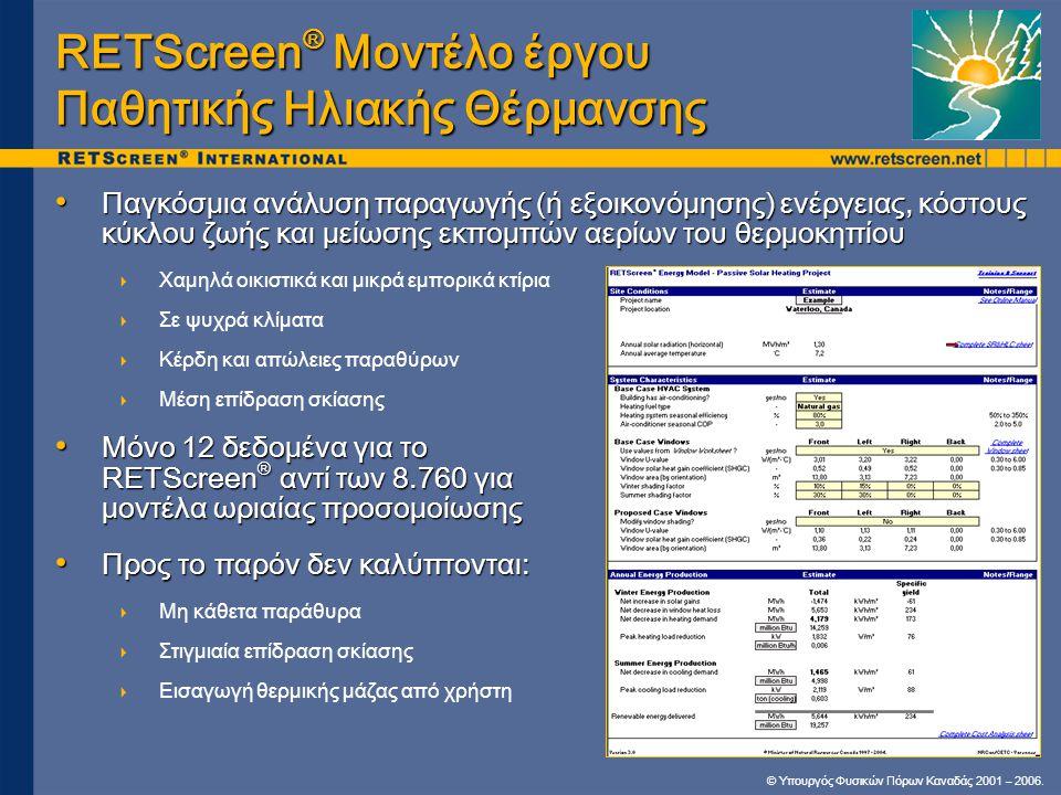RETScreen® Μοντέλο έργου Παθητικής Ηλιακής Θέρμανσης