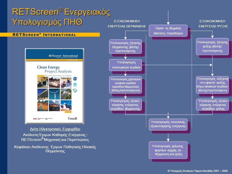 RETScreen® Ενεργειακός Υπολογισμός ΠΗΘ