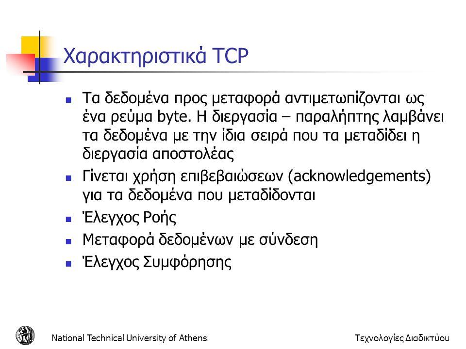 Χαρακτηριστικά TCP