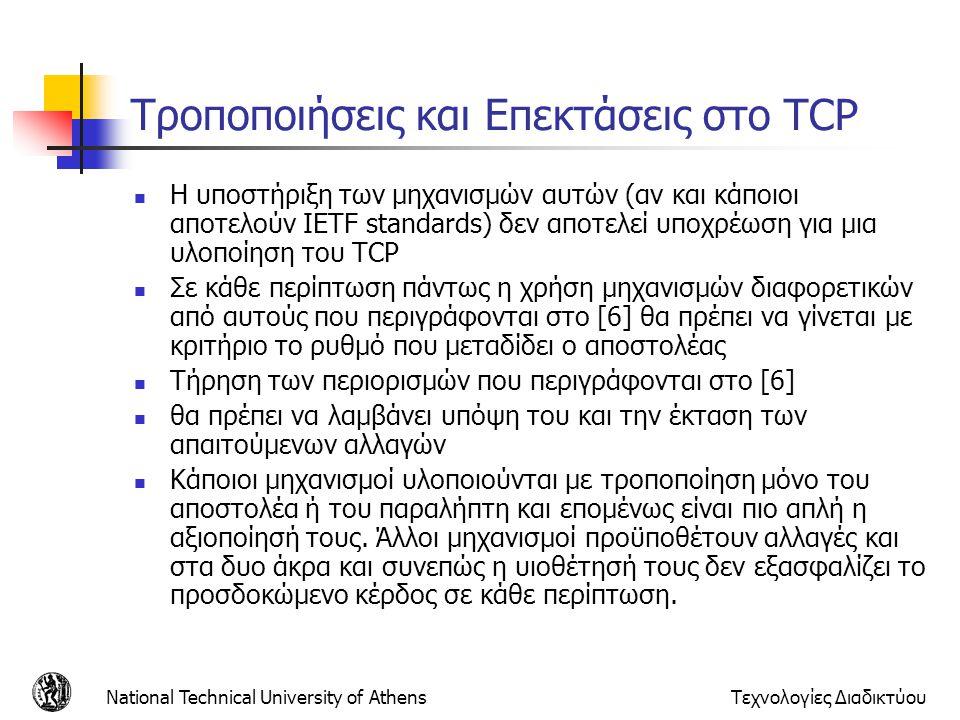 Τροποποιήσεις και Επεκτάσεις στο TCP