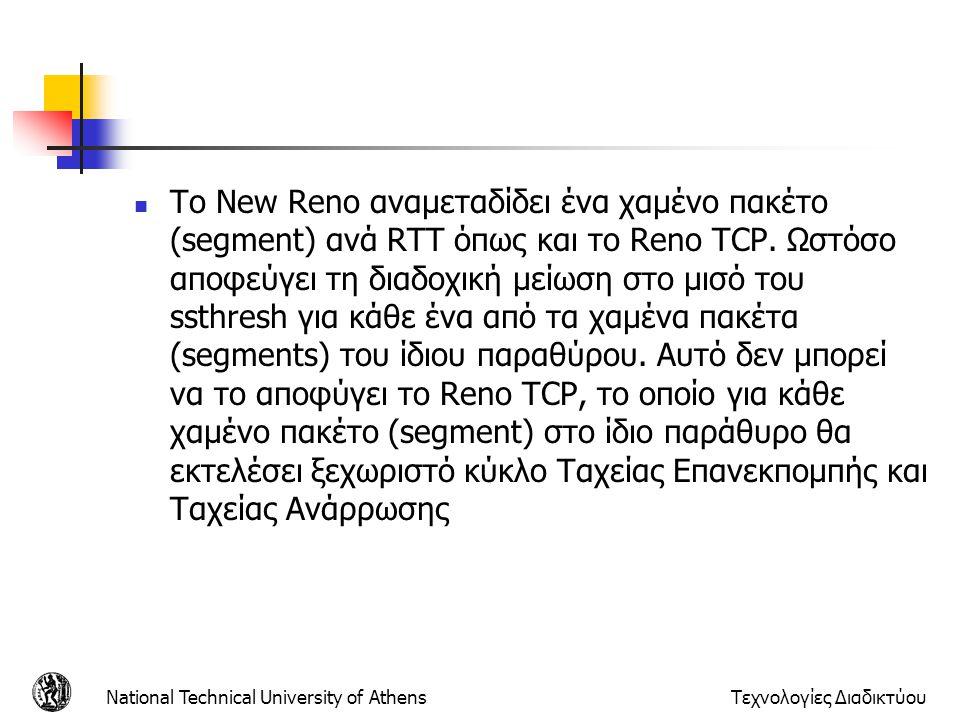 Το New Reno αναμεταδίδει ένα χαμένο πακέτο (segment) ανά RTT όπως και το Reno TCP. Ωστόσο αποφεύγει τη διαδοχική μείωση στο μισό του ssthresh για κάθε ένα από τα χαμένα πακέτα (segments) του ίδιου παραθύρου. Αυτό δεν μπορεί να το αποφύγει το Reno TCP, το οποίο για κάθε χαμένο πακέτο (segment) στο ίδιο παράθυρο θα εκτελέσει ξεχωριστό κύκλο Ταχείας Επανεκπομπής και Ταχείας Ανάρρωσης
