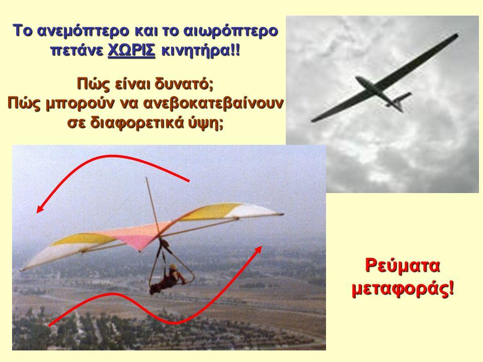 Το ανεμόπτερο και το αιωρόπτερο πετάνε ΧΩΡΙΣ κινητήρα