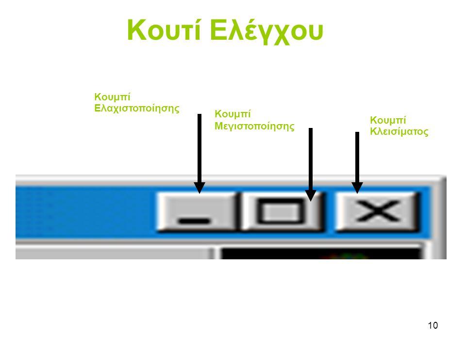 Κουτί Ελέγχου Κουμπί Ελαχιστοποίησης Κουμπί Μεγιστοποίησης Κουμπί