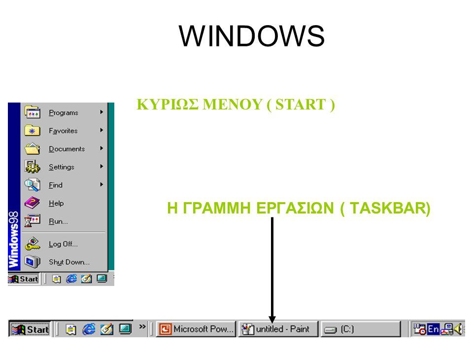 WINDOWS ΚΥΡΙΩΣ MENOY ( START ) Η ΓΡΑΜΜΗ ΕΡΓΑΣΙΩΝ ( TASKBAR)