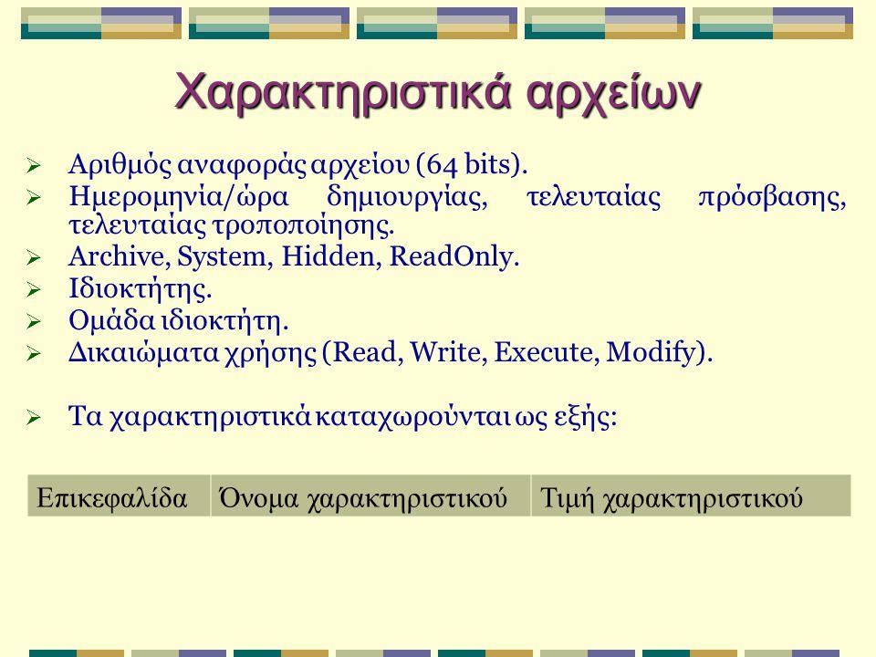 Χαρακτηριστικά αρχείων