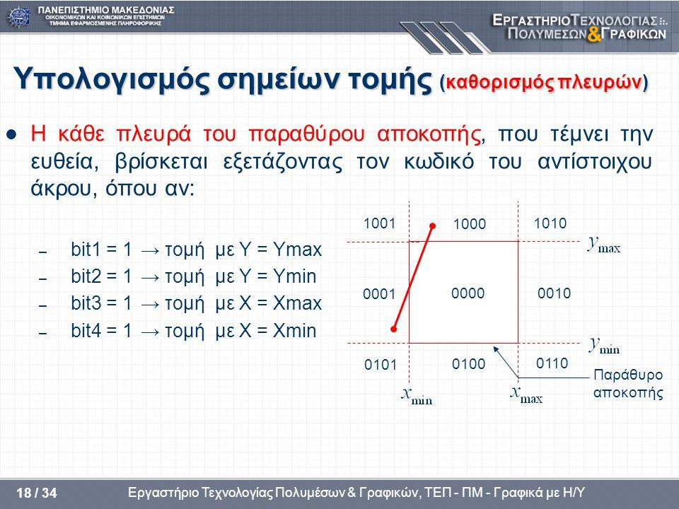 Υπολογισμός σημείων τομής (καθορισμός πλευρών)