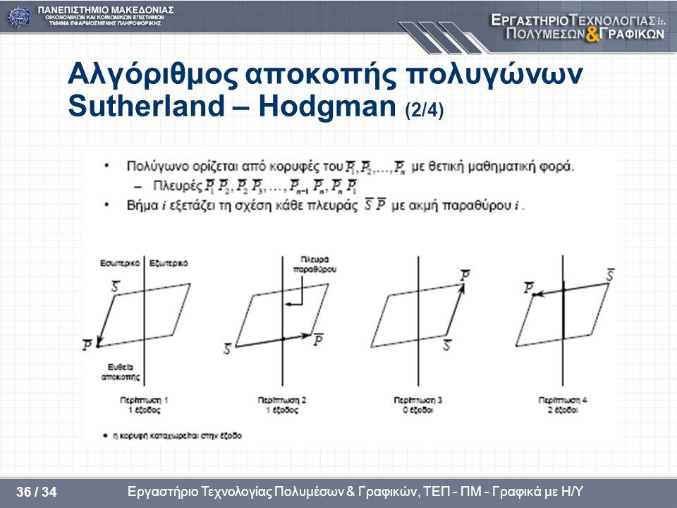 Αλγόριθμος αποκοπής πολυγώνων Sutherland – Hodgman (2/4)