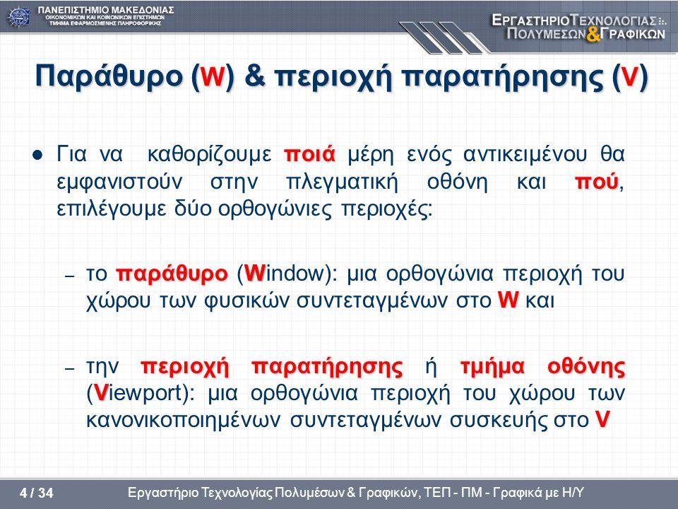 Παράθυρο (W) & περιοχή παρατήρησης (V)