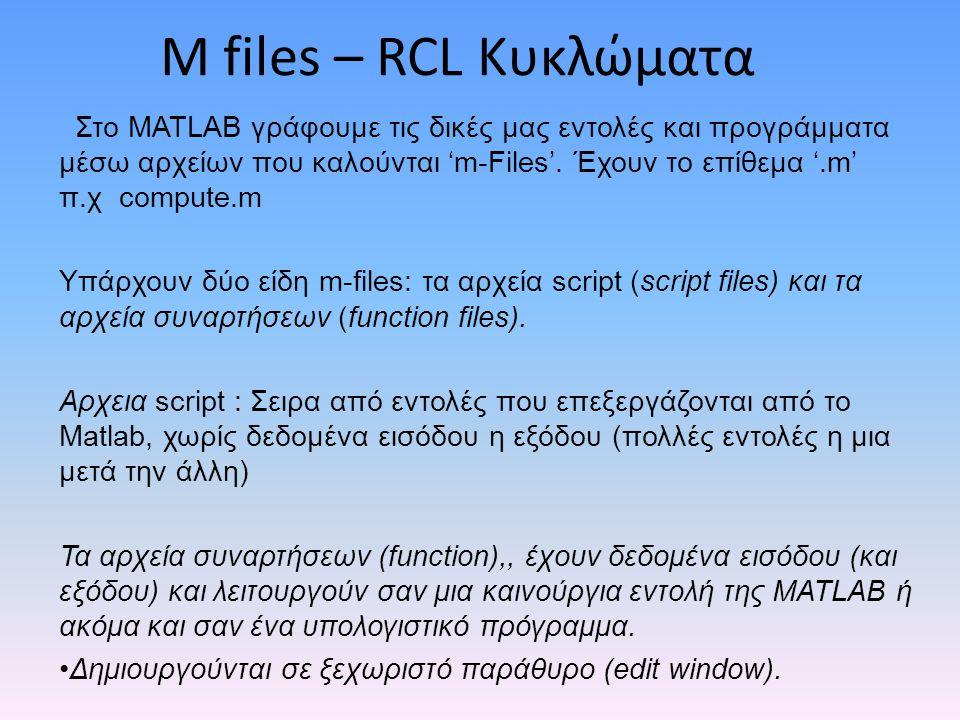 M files – RCL Κυκλώματα